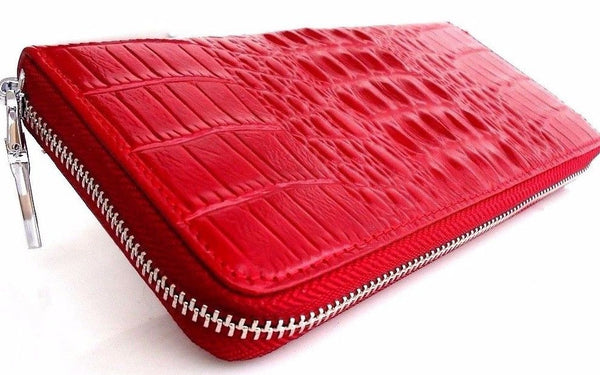 Genuine real leather red woman purse wallet zipper Coins cards slots bag crocodile design style daviscase
