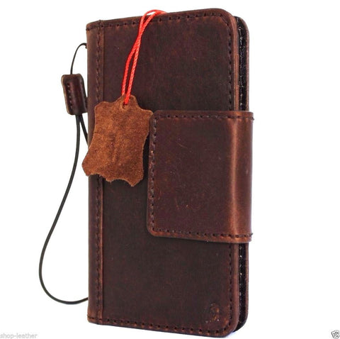 genuine oiled real leather case fit for iphone 6s plus cover 6 s book wallet band credit card id magnetic business slim magnet  JP daviscase