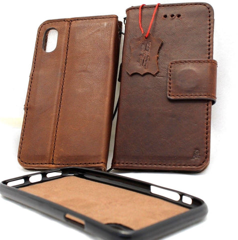 Genuine real leather case for Apple  iPhone XS MAX cover wallet credit holder magnetic book tan Removable detachable prime holder slim Jafo