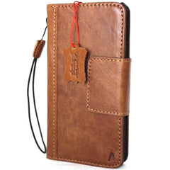 Genuine Leather Case for iPhone X book wallet magnetic closure cover Cards slots Slim vintage bright brown Daviscase