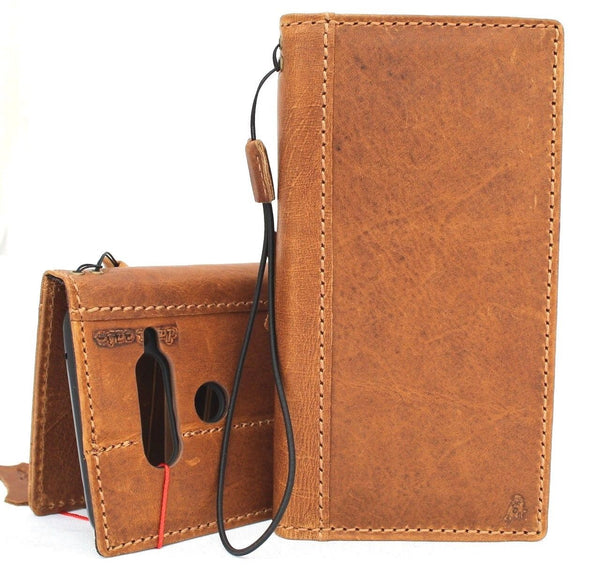 Genuine vintage leather Case for LG V40 book wallet cover slim brown cards slots handmade luxury daviscase 40