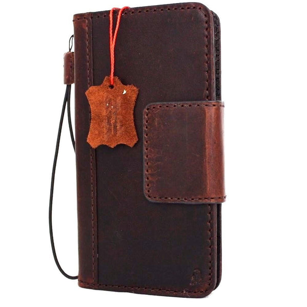 genuine vintage leather Case for LG v10 book wallet magnet cover dark brown cards slots slim daviscase