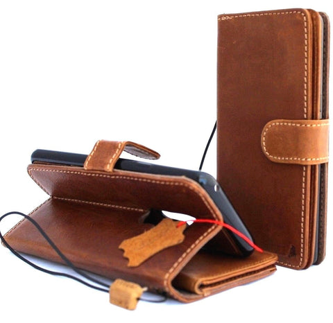 Genuine leather Case for Samsung Galaxy S9 Plus book wallet coverbCards Removable detachable id window vintage Tan slim daviscase