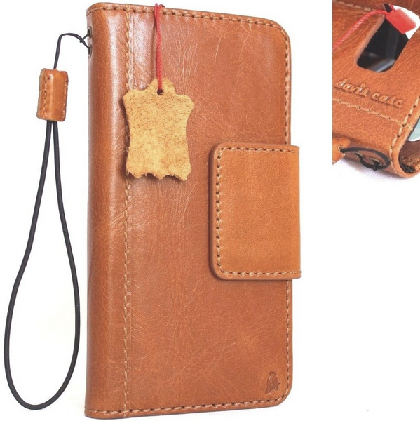 Genuine vintage leather Case for Samsung Galaxy S8 Plus book wallet magnet cover cards slots light brown slim daviscase