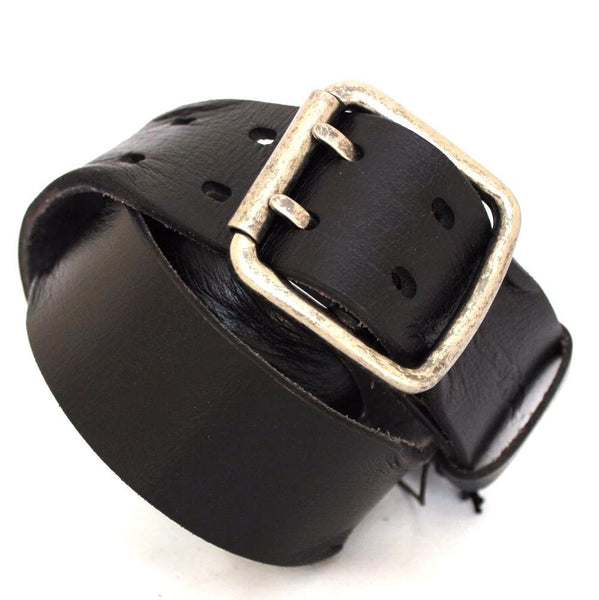 Genuine vintage Leather belt 43 mm Waist handmade classic retro black size L