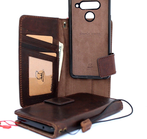 Genuine vintage leather Case for LG V40 book detachable wallet magnetic Removable cover slim brown cards slots handmade daviscase