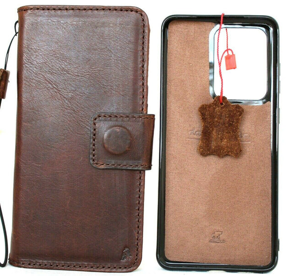 Genuine Vintage Leather Case For Samsung Galaxy S20 Ultra  Book Removable Wallet Magnetic closure Cover cards slots detachable Holder Slim Jafo R