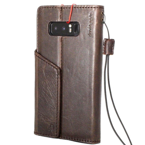 Genuine vintage leather case for samsung galaxy note 8 book wallet magnetic closure cover cards slots Dark holder daviscase