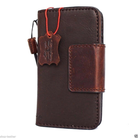 genuine italian leather Case for Samsung Galaxy S7 book wallet handmade cover s Businesse daviscase mag