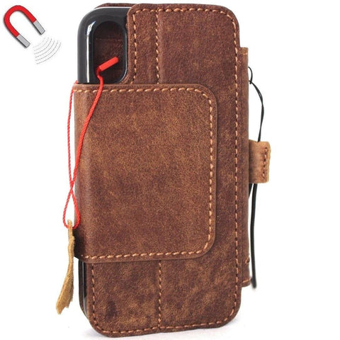 Genuine real leatherfor apple  iPhone x case cover wallet credit holder magnetic book tan Removable detachablenluxury holder slim davis