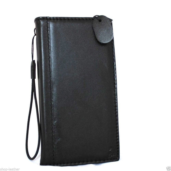 genuine real leather case for iphone 6 plus cover book wallet band credit card id magnet business slim flip black daviscase