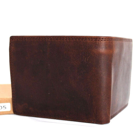 Men's Genuine Oiled Leather Wallet Vintage Italian Natural Skin Coin Money Pocket Purse Retro Style Luxury