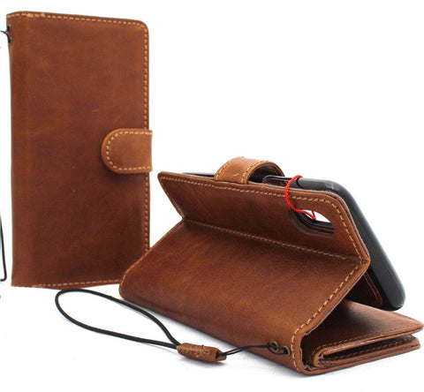 Genuine real leather for apple iPhone XS case cover wallet credit holder magnetic book tan Removable detachable luxury holder slim soft Jafo