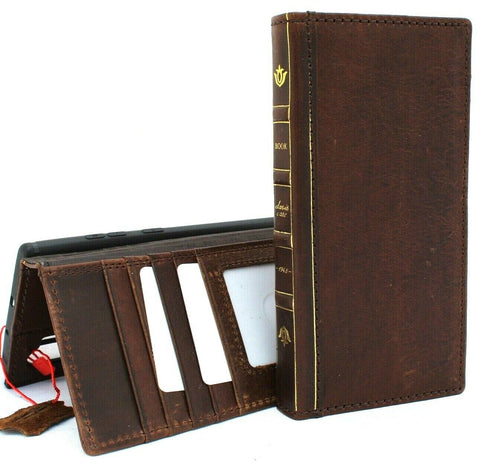 Genuine Vintage Leather Case for Samsung Galaxy Note 10 Plus Bible Book Style Wallet  holder slots rubber stand window Jafo