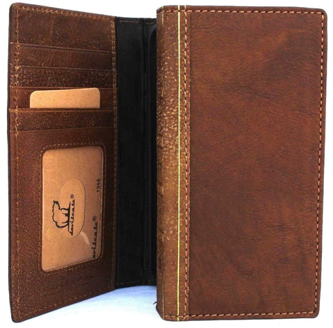 Genuine Leather Case for iPhone XS book bible wallet closure cover Cards slots Slim holder vintage Tan brown Daviscase