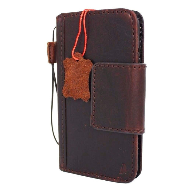 Genuine real leather iPhone 7 magnetic case cover wallet credit holder book luxury Rfid Pay