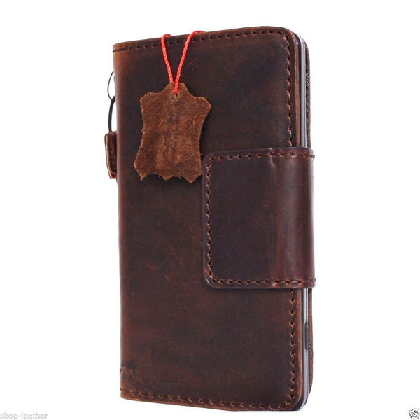 genuine vintage leather Case for Microsof lumia 950 book wallet magnet cover slim brown cards slots daviscase