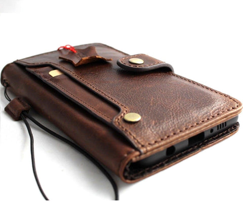 Genuine real leather case for Samsung Galaxy Note 9 book handmade wallet closure luxury cover cards slots wireless charge daviscase