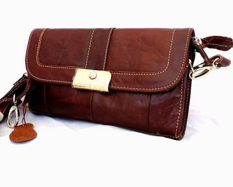 Genuine natural leather brown woman purse tote Ladies wallet Clutch zipper card