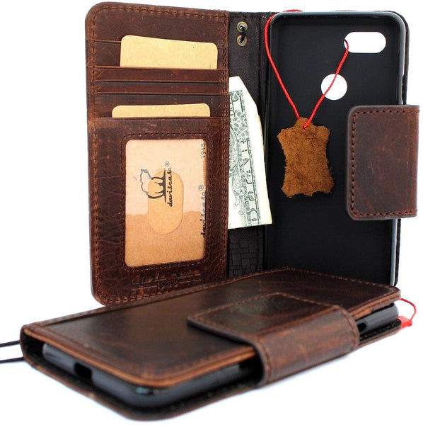 Genuine Real Leather Case for Google Pixel 3 XL Book Wallet Handmade holder Retro Luxury magnetic Davis 1948 prime