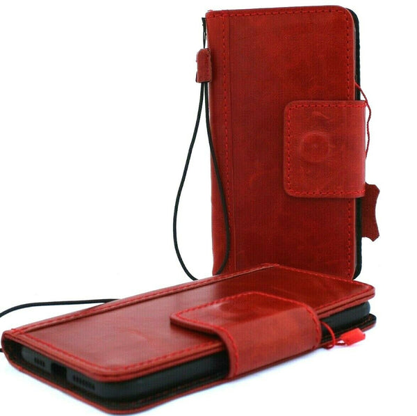 Genuine Real Leather case for Apple  iPhone 11 cover wallet credit holder book wireless charging prime holder slim Jafo Red