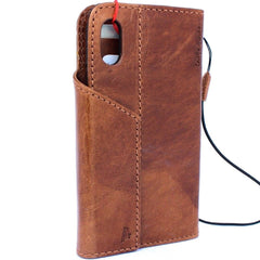 Genuine Leather Case for iPhone X book wallet magnet closure cover Cards slots Slim vintage bright brown Daviscase 3D