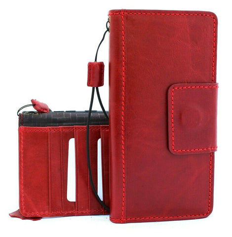 Genuine full leather case for samsung galaxy note 10 plus book wallet flip holder slots soft strap Magnetic closure Red Jafo