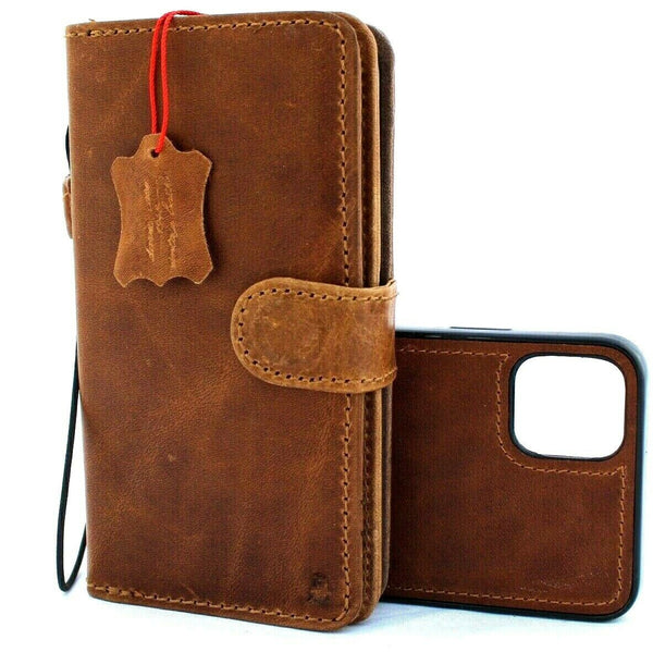 Genuine Real Leather Case For Apple  iPhone 11 Cover Wallet Credit Holder Magnetic Book Tan Removable Detachable Prime Holder slim Jafo 48 Vintage