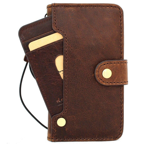 Genuine Full Vintage Leather Case For iPhone SE 2 2020 Cover Book Wallet Cards Tic Slim Davis Classic Art Wireless Charging Dark Brown Luxury SE2 Davis