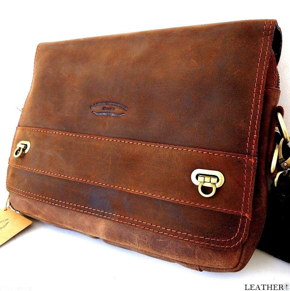 Top Genuine Leather Bag for iPad laptop vintage style Brown classic crossbdy 3 2
