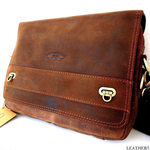 8635662d91 Top Genuine Leather Bag for iPad laptop vintage style Brown classic  crossbdy 3 2