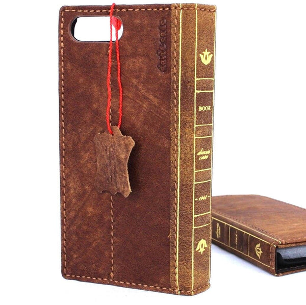Genuine full leather case for iphone 8 cover book bible wallet cards vintage business slim Wireless charging davis classic Art