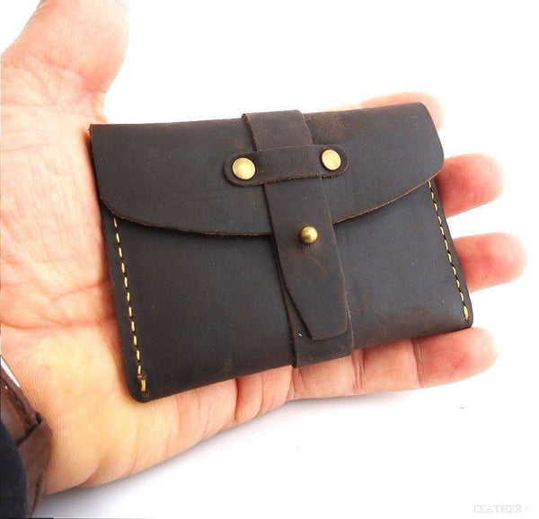 Genuine full Leather man mini small wallet Money id credit cards holder pocket daviscase il