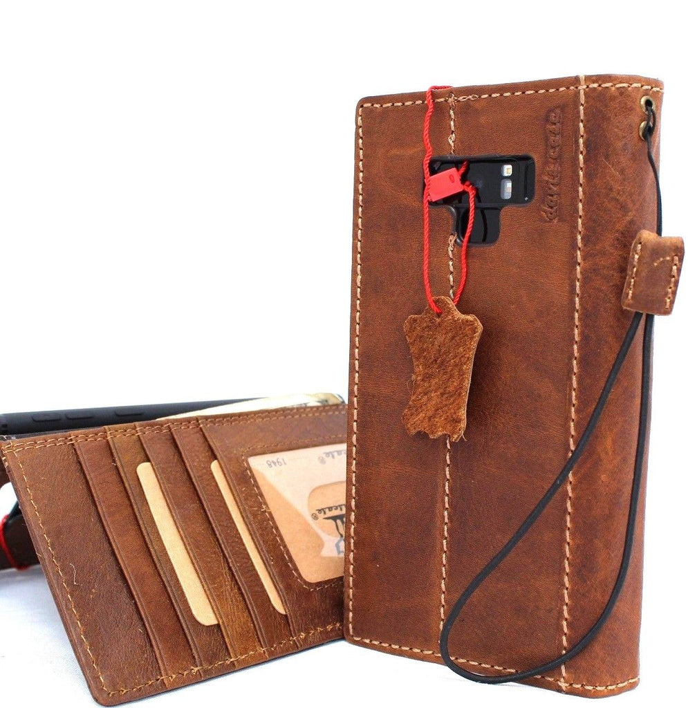 size 40 3ab75 36f1b Genuine vintage leather Case for Samsung Galaxy note 9 book wallet elastic  strap cover cards Jafo slots Tan daviscase