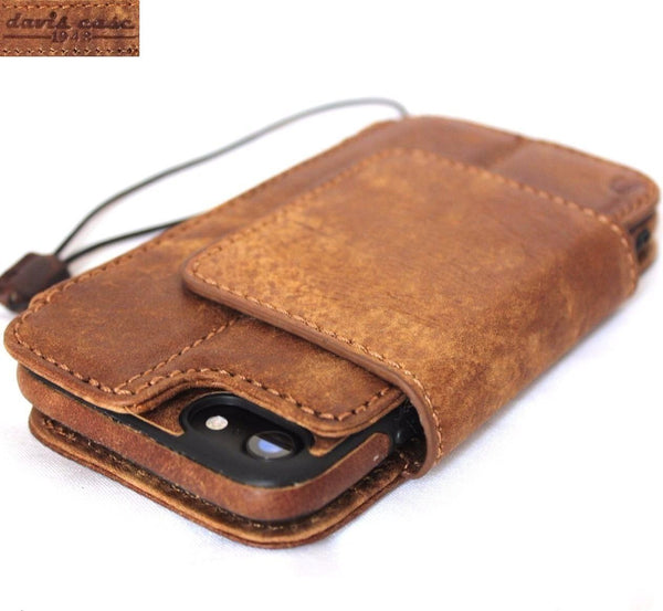 genuine leather Case for iphone 8 wallet book cover magnetic Removable hand made vintag brown daviscase