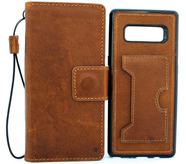 Genuine Real Tanned leather case for Samsung Galaxy Note 8 book wallet cover Soft Vintage cards slots slim Wireless Charging Daviscase
