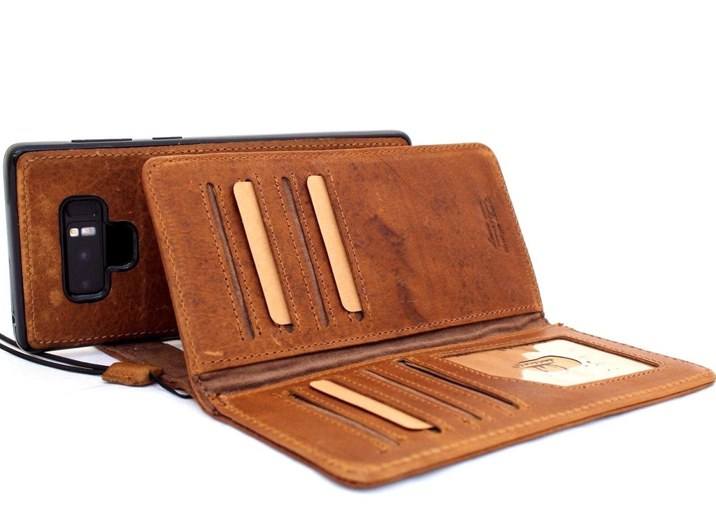 11efc950e ... Genuine leather case for samsung galaxy note 9 book wallet cover soft  vintage detachable multi cards ...