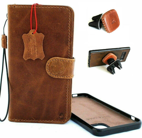 "Genuine Real Leather Case For Apple iPhone 11 (6.1"") Cover Wallet Credit cards Holder Magnetic Book Tan Removable Detachable Prime Holder Vintage + Magnetic Car Holder"