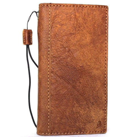 Genuine Natural leather case for iPhone 8 cover book wallet cards business slim Wireless charging Davis classic Art Tan