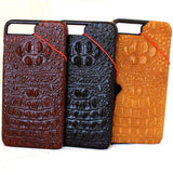 Genuine REAL cow leather iPhone 7 plus case cover crocodile model wallet credit holder book luxury