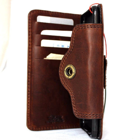 Genuine REAL natural leather iPhone 7 plus  case cover wallet credit holder book luxury Rfid Pay