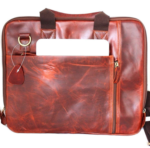 Genuine real Leather Shoulder hand Bag Messenger man cross body Business laptop brown