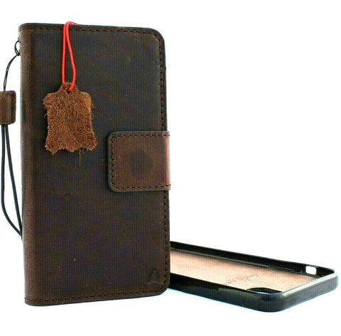 Genuine natural leather for Apple iPhone 11 Pro Max Case Cover Wallet Credit cards Holder Magnetic Book Rubber Detachable Prime Soft Dark Brown