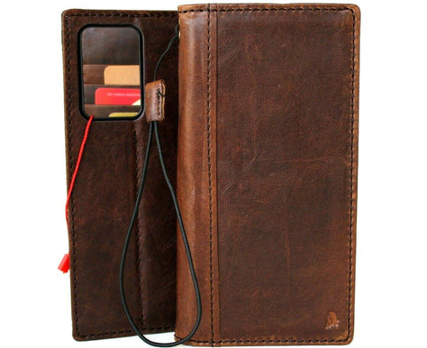 Genuine Leather Case for Samsung Galaxy Note 20 Ultra 5G book wallet cover Cards Wireless Charging ID Window Luxury Rubber stand Davis 1948