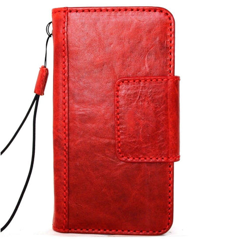 Genuine Leather Case for iPhone XS book wallet magnet closure cover Cards slots Slim vintage red Daviscase