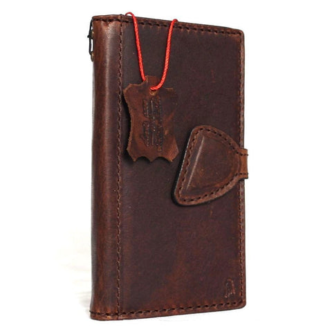 genuine Leather hard Cover for Samsung Galaxy Note Edge Case Wallet Phone skin Flim Clip brown magnet au daviscase