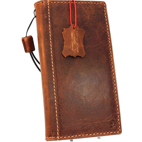 Genuine vintage leather Case for Samsung Galaxy S9 Plus book wallet elastic strap cover cards slots Tan Jafo daviscase