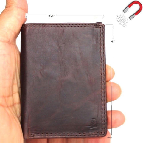 Men's Genuine Leather mini Wallet maximum slim Cards slots coins zipper magnetic brown daviscase