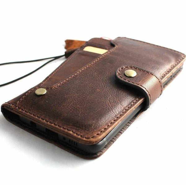 Genuine real leather case for samsung galaxy note 10 book wallet cover retro cards slots button closure luxury flip rubber strap wireless charging daviscase