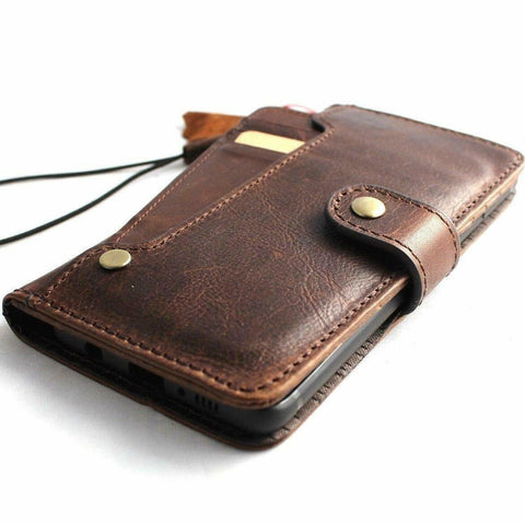 Genuine Vintage leather case for Samsung Galaxy Note 10 Plus book wallet soft holder slots rubber stand window Wireless charger